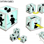 Concept drawing for the conversation cubes